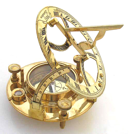 Maritime Brass Sundial Clock Compass With Spirit Level